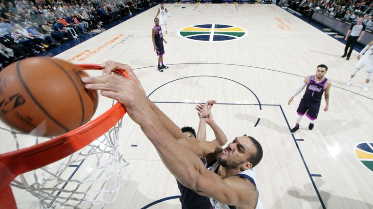 Rudy Gobert hammers home a dunk