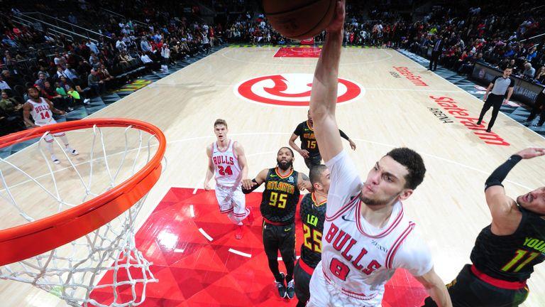 Zach LaVine powers home a dunk against Atlanta