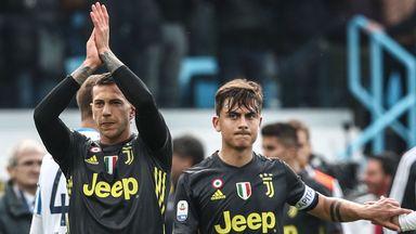 Paulo Dybala and Federico Bernardeschi applaud Juventus fans after the defeat