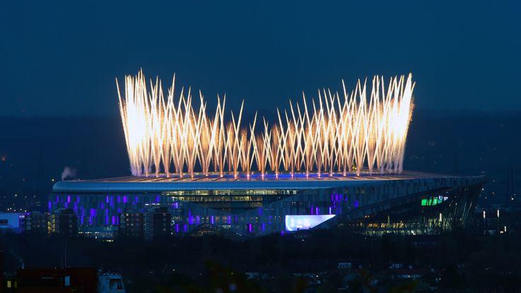 A firework display ahead of kick off at the Tottenham Hotspur Stadium