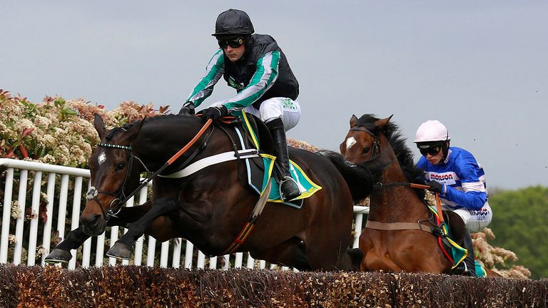 Altior and Nico de Boinville clear an early fence before winning The bet365 Celebration Chase Race run at Sandown Park Racecourse, Esher. PRESS ASSOCIATION Photo. Picture date: Saturday April 27, 2019. See PA story RACING Sandown. Photo credit should read: Julian Herbert/PA Wire