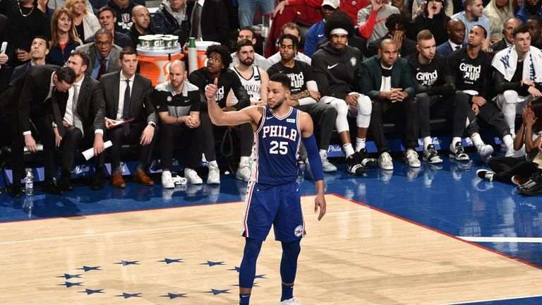 Ben Simmons shows appreciation of a team-mate during the Sixers's Game 2 win over Brooklyn