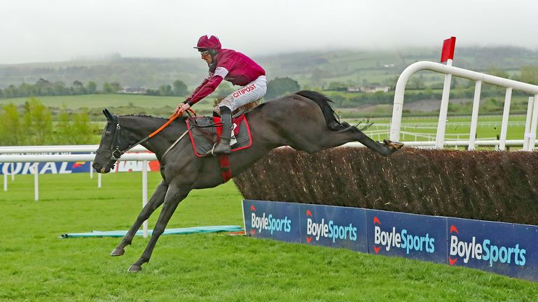 Delta Work ridden by Davy Russell wins The Dooley Insurance Group Champion Novice Steeplechase during day one of the Punchestown Festival at Punchestown Racecourse, County Kildare, Ireland. PRESS ASSOCIATION Photo. Picture date: Tuesday April 30, 2019. See PA story RACING Punchestown. Photo credit should read: Niall Carson/PA Wire