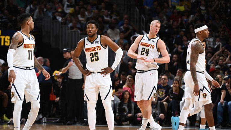 Malik Beasley and Miles Plumlee in postseason action for the Denver Nuggets