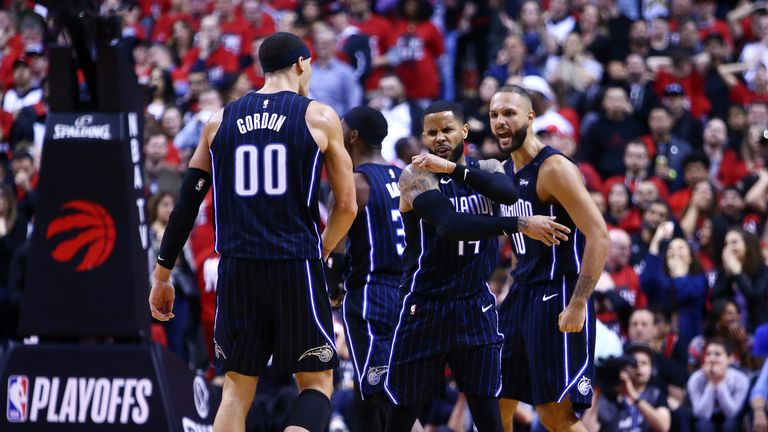 DJ Augustin celebrates his Game 1 game-winner in Toronto