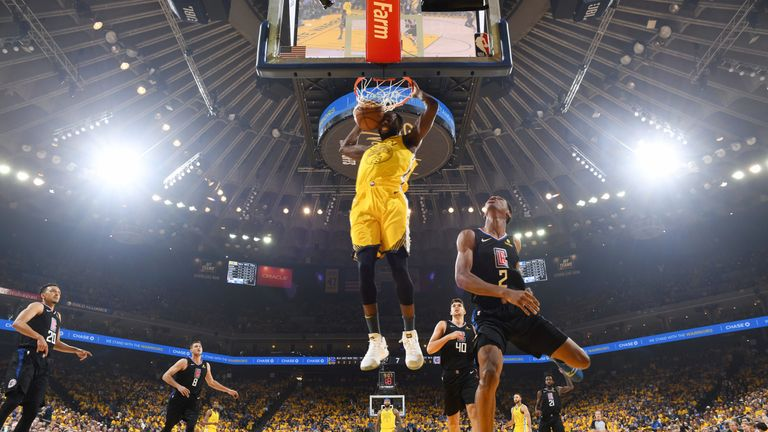 Draymond Green hammers home a dunk in the Golden State Warriors' upset Game 2 loss to the Los Angeles Clippers