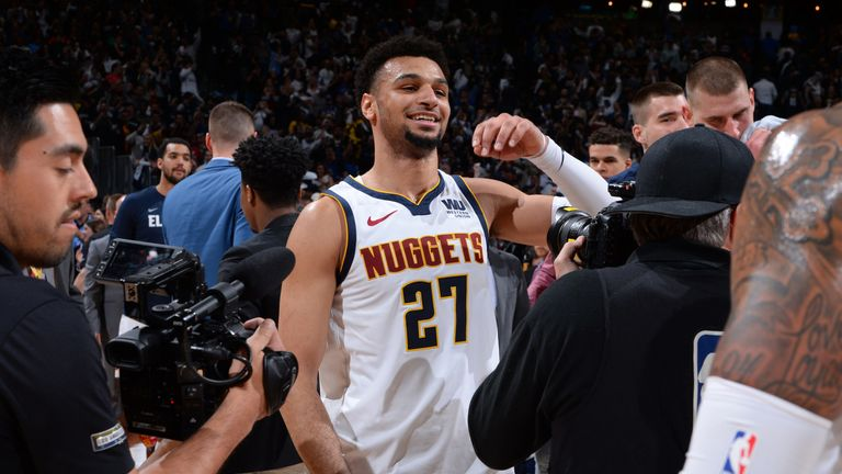 Jamal Murray celebrates following Denver's Game 2 win over the San Antonio Spurs