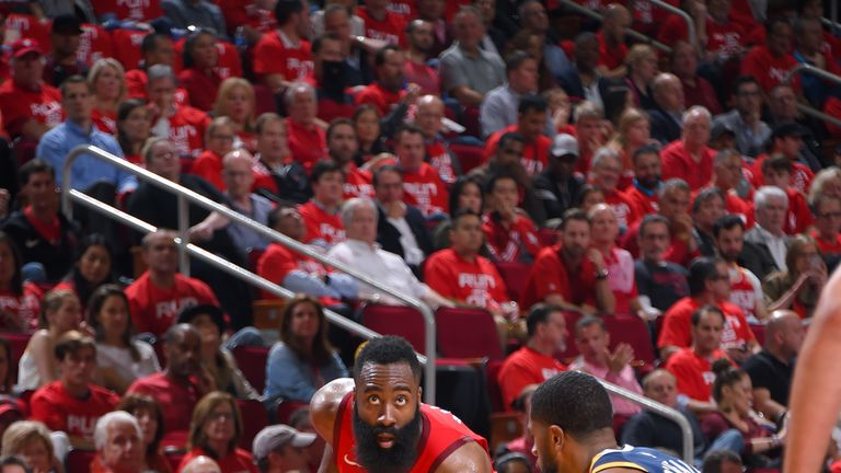 James Harden prepares to attack against the Utah Jazz in Game 2