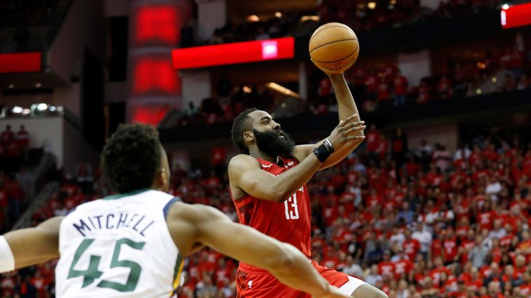 James Harden scores with a lay-up in Game 5 against Utah