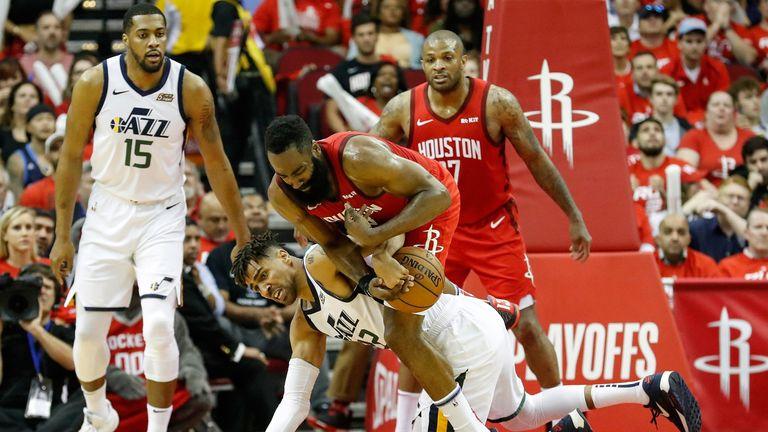 James Harden and PJ Tucker swarm on defense against the Utah Jazz