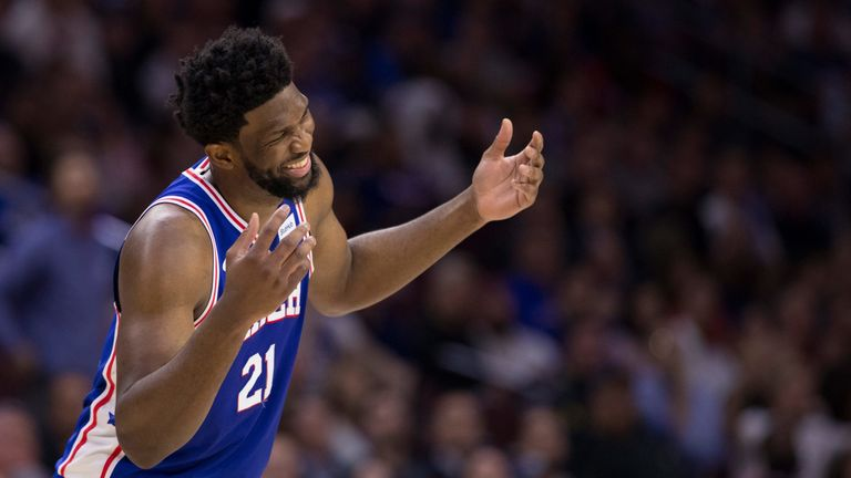 Joel Embiid celebrates during the Sixers' Game 5 win