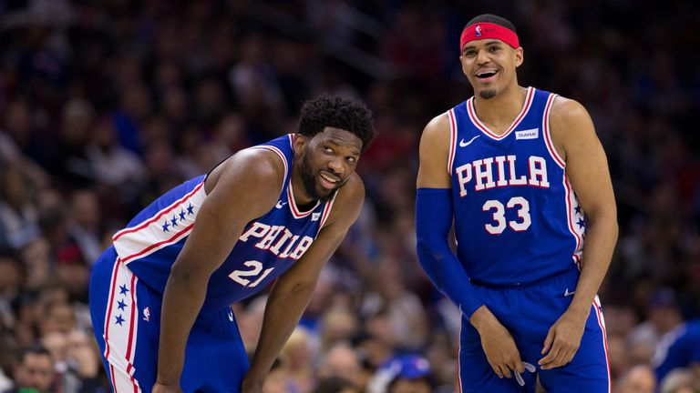 Joel Embiid smiles as the Philadelphia 76ers seal a first-round series win over the Brooklyn Nets