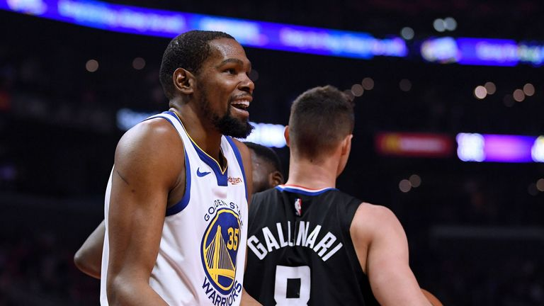 Kevin Durant questions a call en route to a game-high 33 points