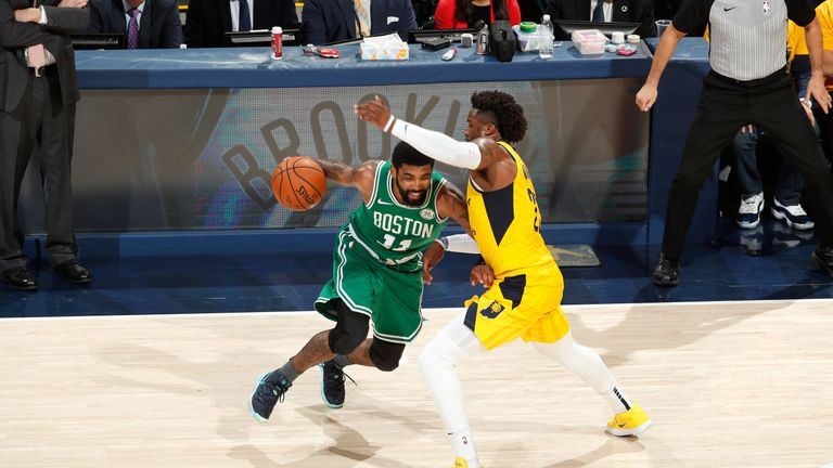 Kyrie Irving drives on Wesley Matthews in the Celtic' Game 3 win over the Pacers