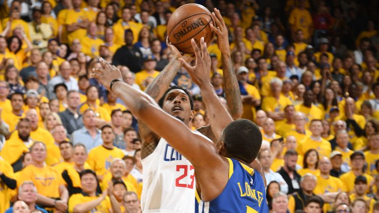 Lou Williams fires a jump shot over Kevon Looney during the Clippers Game 5 win