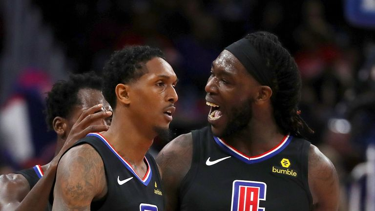 Electric reserves Lou Williams and Montrezl Harrell in action for the Los Angeles Clippers