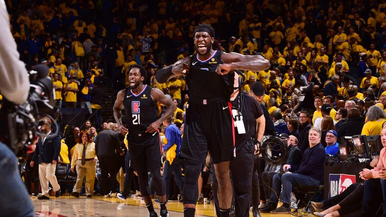 Montrezl Harrell celebrates as the Clippers complete their record-breaking comeback against the Warriors