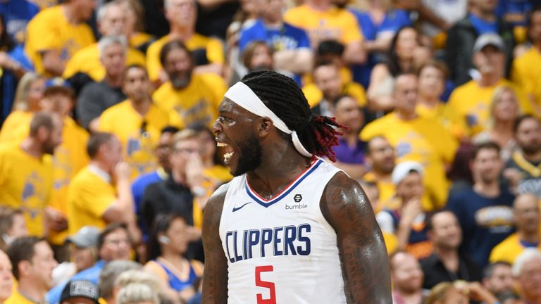 Montrezl Harrell celebrates a big play during the Clippers' Game 5 win in Oakland
