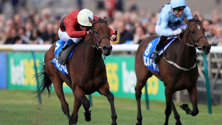 Mot Juste (left) ridden by William Buick wins the Godolphin Lifetime Care Oh So Sharp Stakes