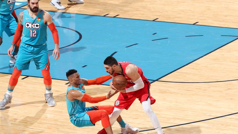 Russell Westbrook tussles with Enes Kanter