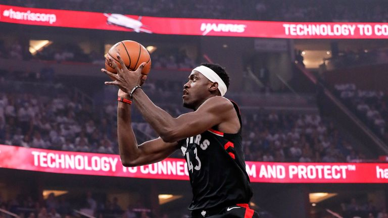 Pascal Siakam shoots a jump shot in Toronto's Game 3 win in Orlando
