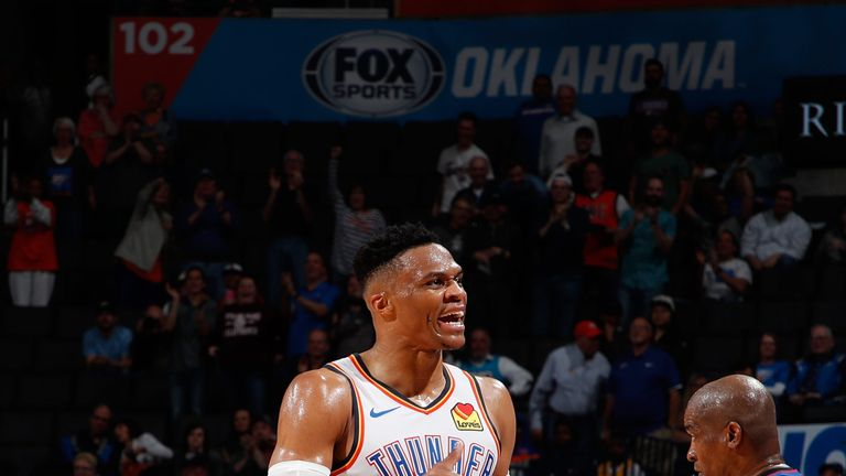 Russell Westbrook celebrates a three-pointer en route to the NBA's first 20/20/20 game for 51 years