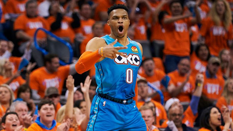 Russell Westbrook celebrates a Game 3 three-pointer against the Portland Trail Blazers