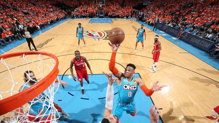 Russell Westbrook attacks the rim in Game 3 against Portland