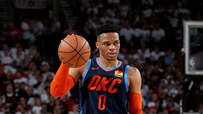 Russell Westbrook sets up a play in Game 5 against the Blazers