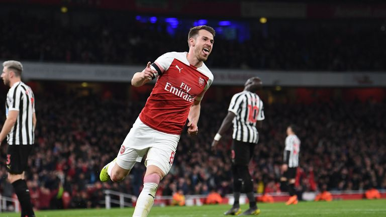 Aaron Ramsey during the Premier League match between Arsenal FC and Newcastle United at Emirates Stadium on April 1, 2019 in London, United Kingdom.