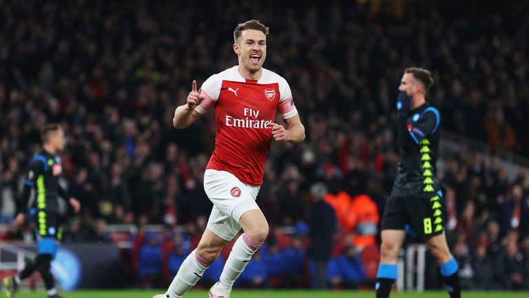 Aaron Ramsey celebrates opening the scoring for Arsenal against Napoli