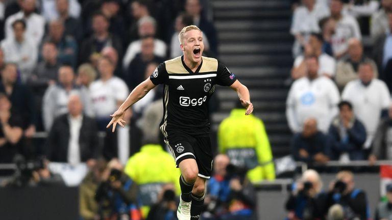 Donny van de Beek celebrates a goal for Ajax against Tottenham
