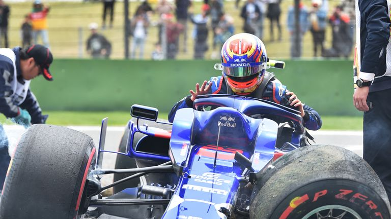 Toro Rosso driver Alexander Albon crashes out of final practice ahead of the Chinese GP