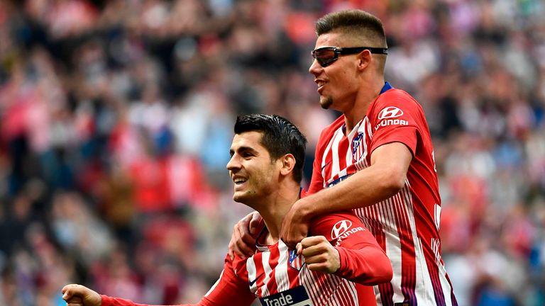 Alvaro Morata celebrates his goal in Atletico's 2-0 win over Celta