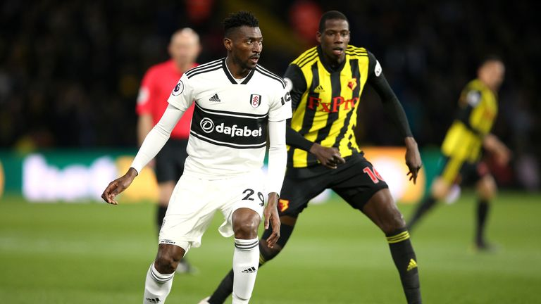 Andre-Frank Zambo Anguissa of Fulham and Abdoulaye Doucoure of Watford during Premier League clash at Vicarage Road