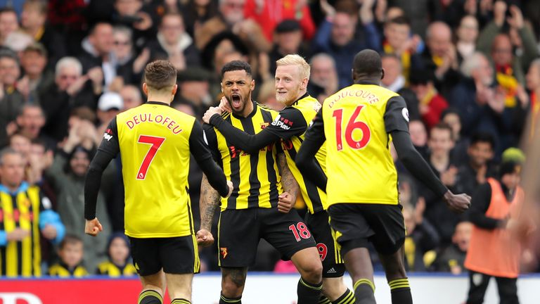 Andre Gray celebrates his equaliser