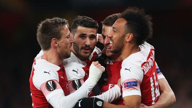 Aaron Ramsey celebrates scoring for Arsenal with team-mates