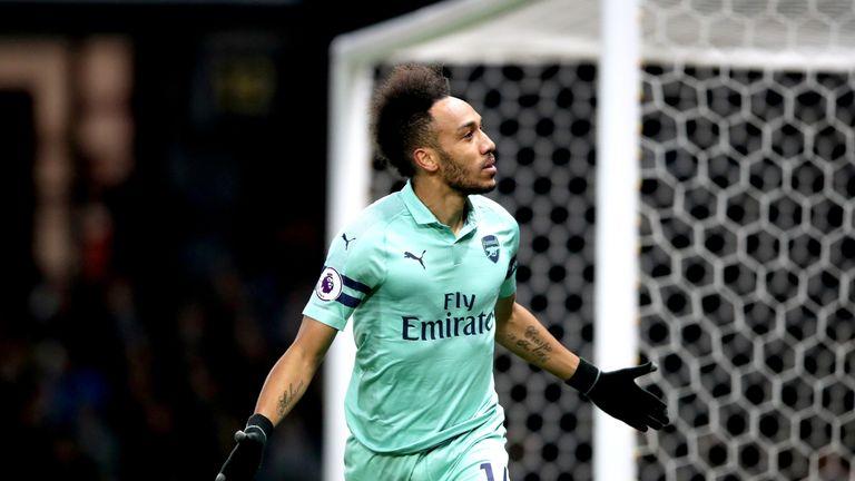 Arsenal's Pierre-Emerick Aubameyang celebrates scoring against Watford