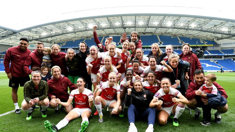 Arsenal crowned WSL champions after thrashing Brighton