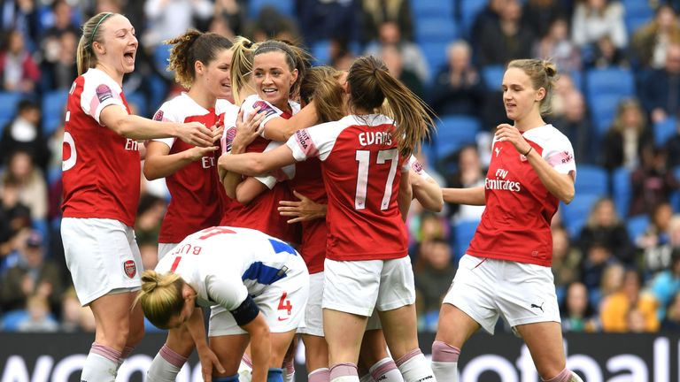 BRIGHTON, ENGLAND - APRIL 28:  Danielle van de Donk celebrates scoring Arsenal's 4th goal with Lousie quinn, Katie McCabe and Vivianne Miedema during the match between Brighton & Hove Albion Women and Arsenal Women at Amex Stadium on April 28, 2019 in Brighton, England.  (Photo by David Price/Arsenal FC via Getty Images) *** Local Caption *** Danielle van de Donk; Lousie Quinn; Katie McCabe; Vivianne Miedema