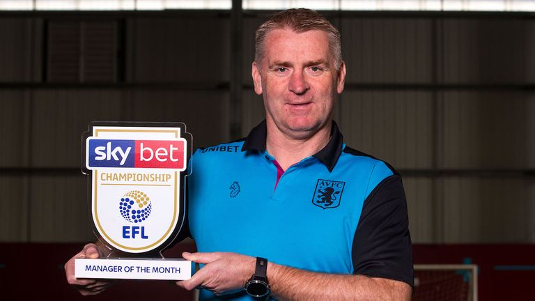 Aston Villa boss Dean Smith is the Sky Bet Championship Manager of the Month for March