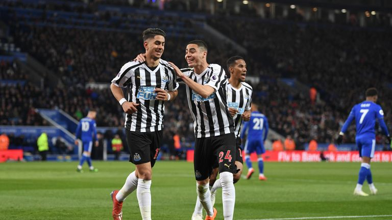 LEICESTER, ENGLAND - APRIL 12: Ayoze Perez of Newcastle United celebrates with teammate Miguel Almiron of Newcastle United after scoring his team's first goal during the Premier League match between Leicester City and Newcastle United at The King Power Stadium on April 12, 2019 in Leicester, United Kingdom. (Photo by Michael Regan/Getty Images)
