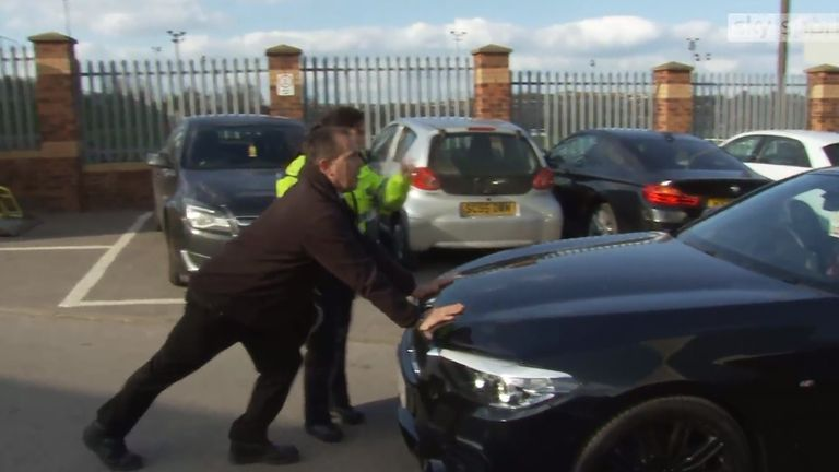 Barton was stopped by police as he tried to leave Oakwell