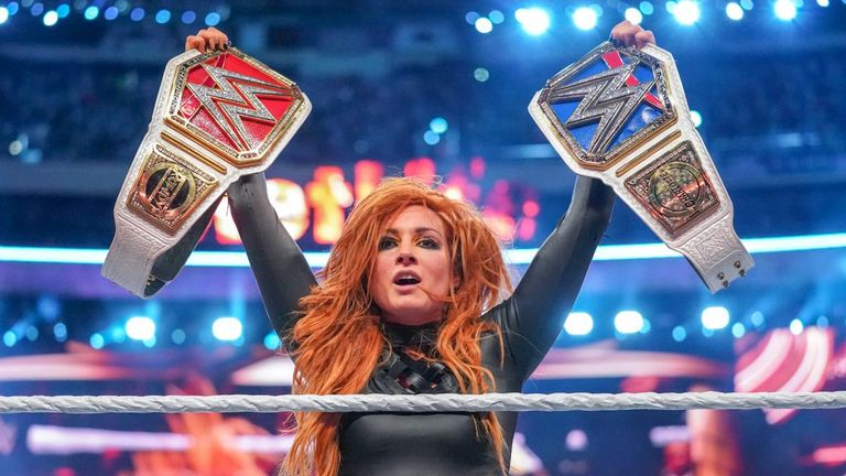 Becky Lynch won both the Raw and SmackDown titles in the main event of WrestleMania on Sunday night