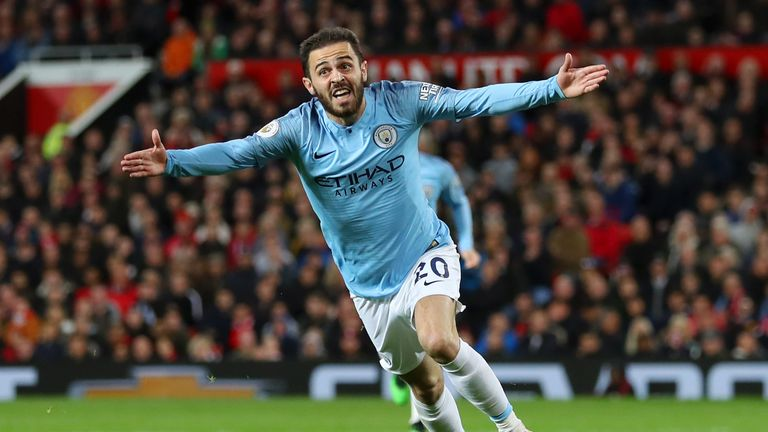 Bernardo Silva celebrates after giving Manchester City a second-half lead