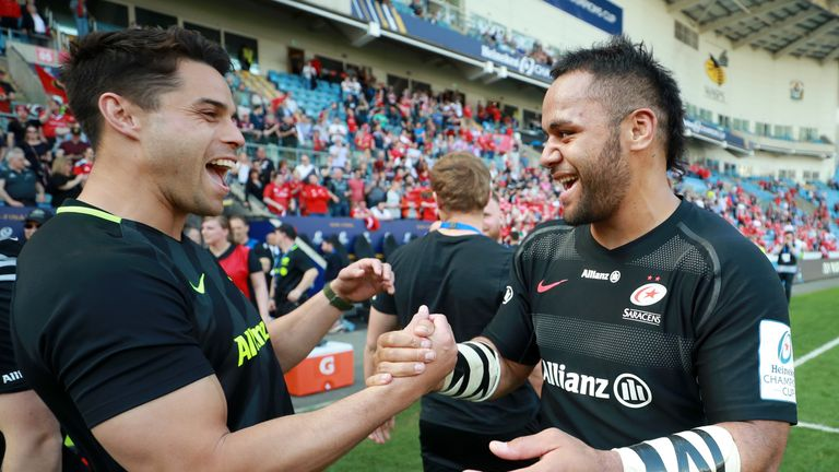 Billy Vunipola celebrates Saracens' win over Munster to reach the Champions Cup final