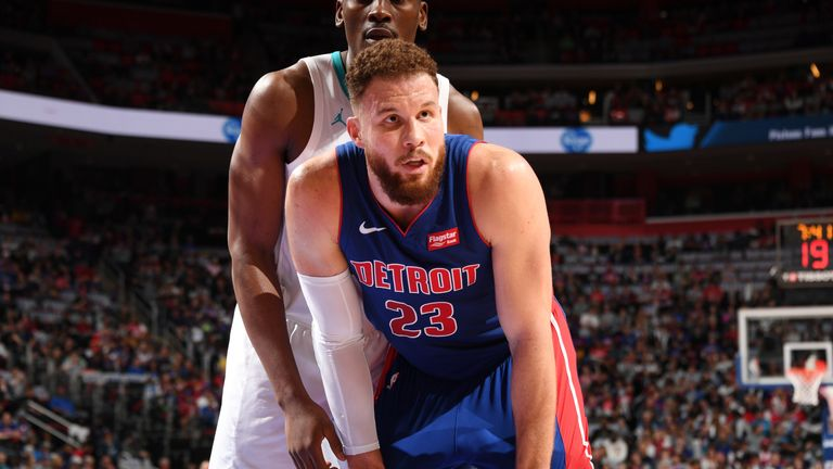 Blake Griffin #23 of the Detroit Pistons looks on during the game against the Charlotte Hornets on April 7, 2019 at Little Caesars Arena in Detroit, Michigan.