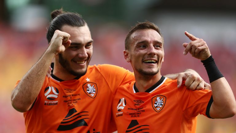 Eric Beautheac scores an incredible penalty in Brisbane Roar's defeat to AdelaIde Utd
