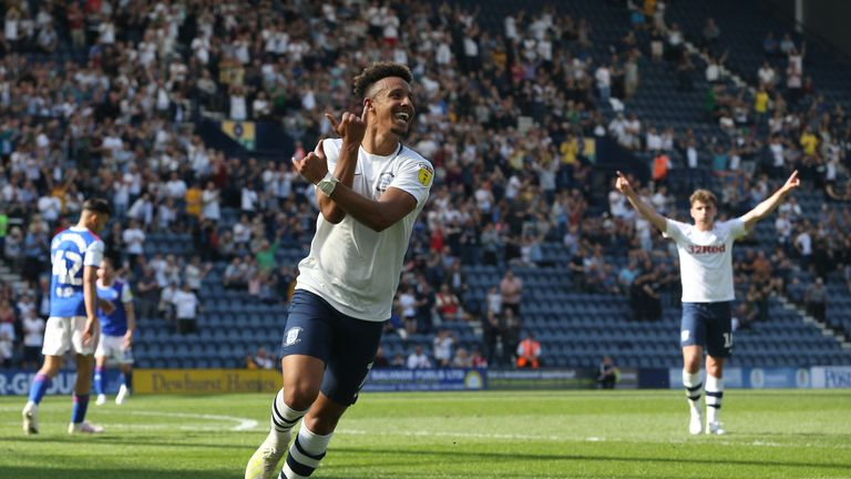 Preston North End's Callum Robinson celebrates scoring his side's second goal