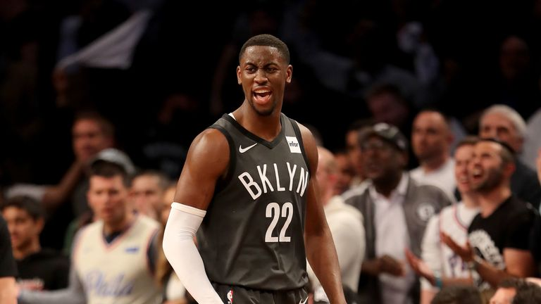 Caris LeVert #22 of the Brooklyn Nets reacts in the first half against the Philadelphia 76ers at Barclays Center on April 20, 2019 in the Brooklyn borough of New York City.